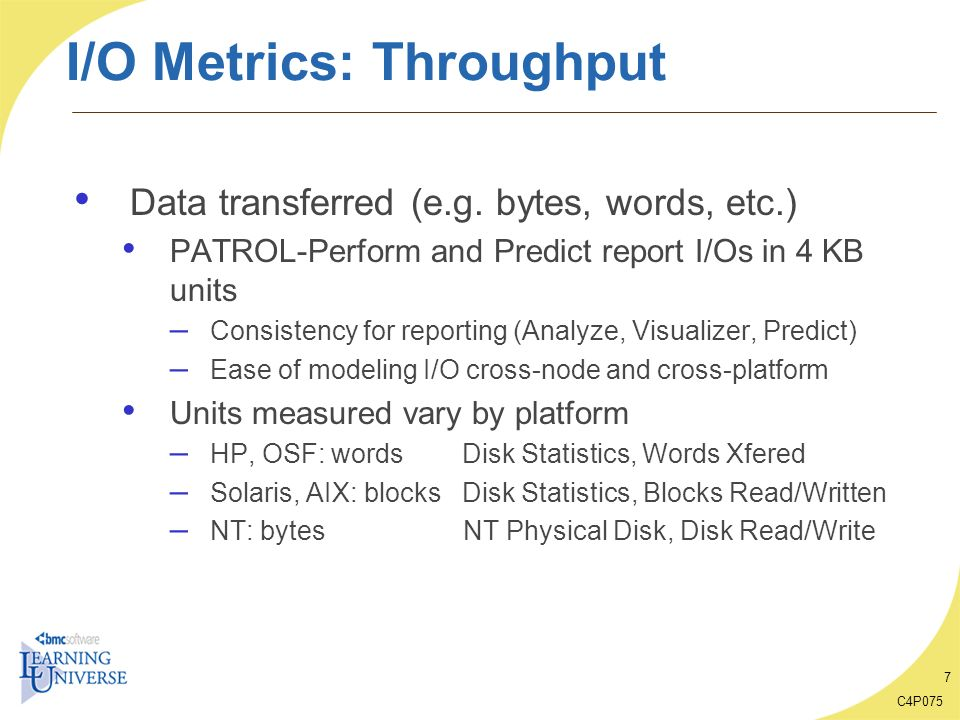 I/O Metrics: Throughput