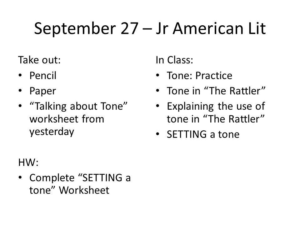 September 27 – Jr American Lit