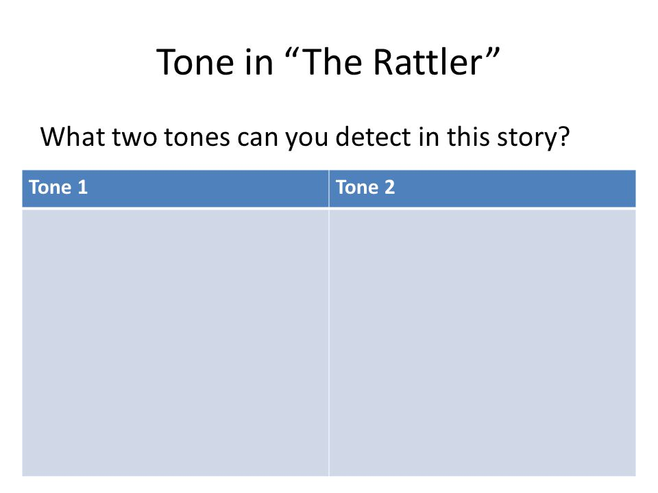 Tone in The Rattler What two tones can you detect in this story