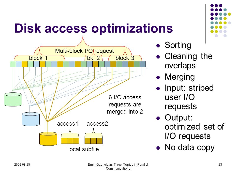 Disk access optimizations