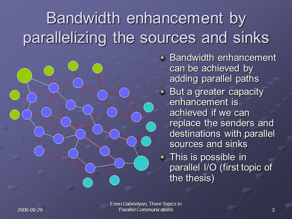 Bandwidth enhancement by parallelizing the sources and sinks