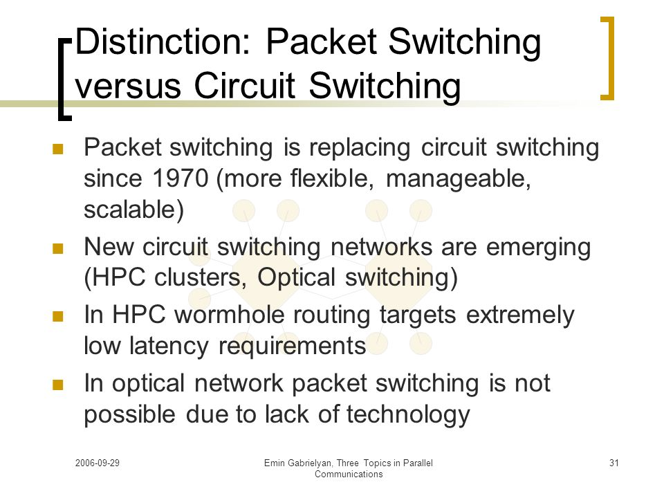Distinction: Packet Switching versus Circuit Switching