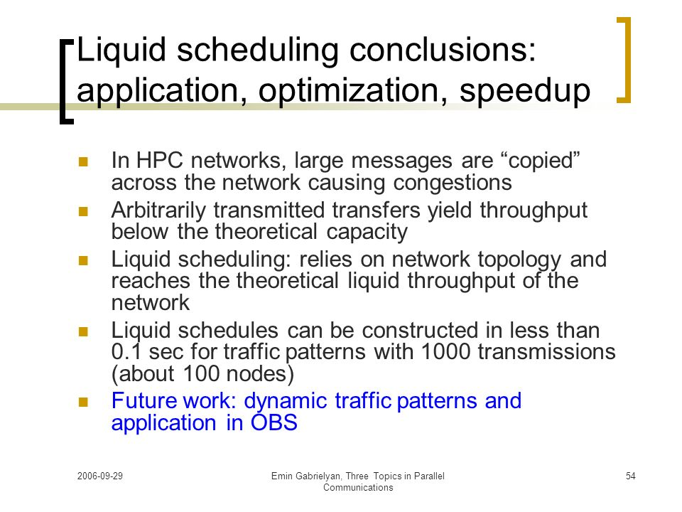 Liquid scheduling conclusions: application, optimization, speedup