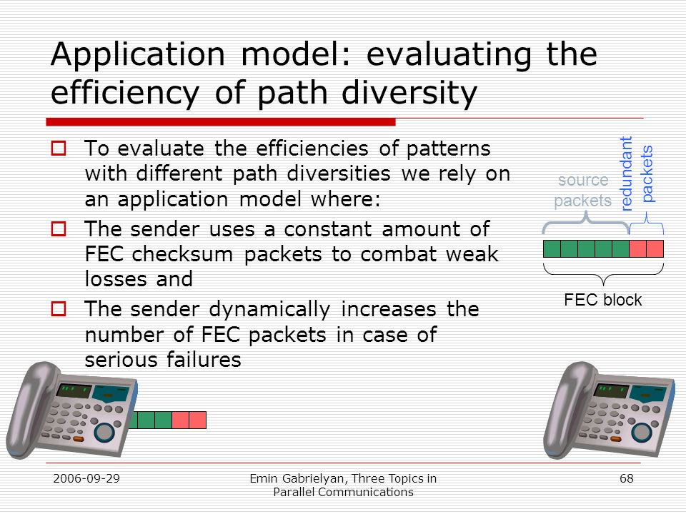 Application model: evaluating the efficiency of path diversity