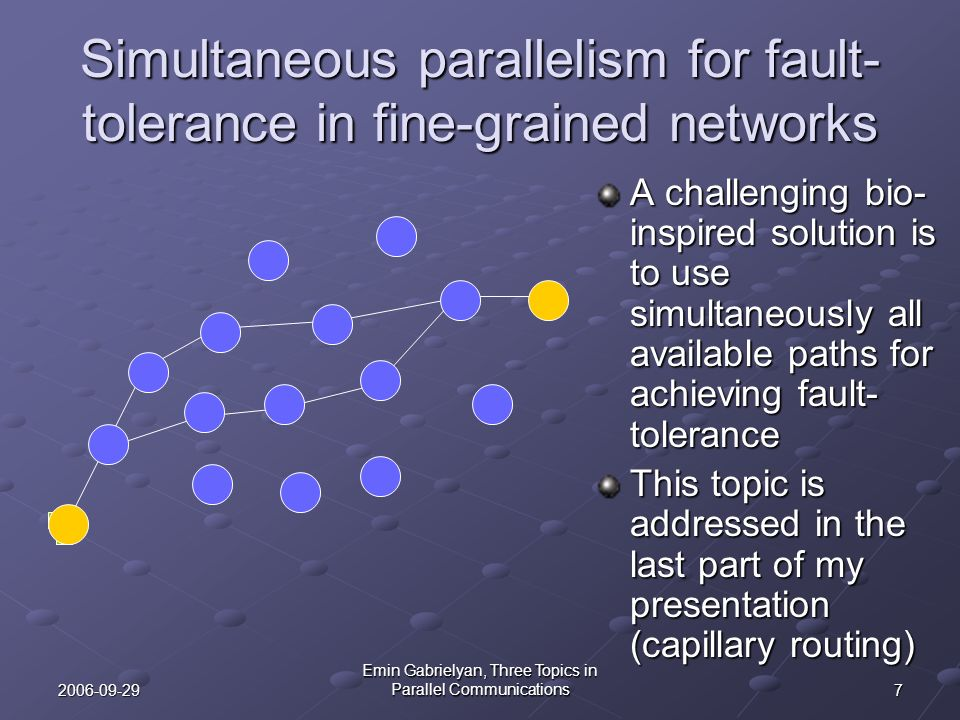 Simultaneous parallelism for fault-tolerance in fine-grained networks
