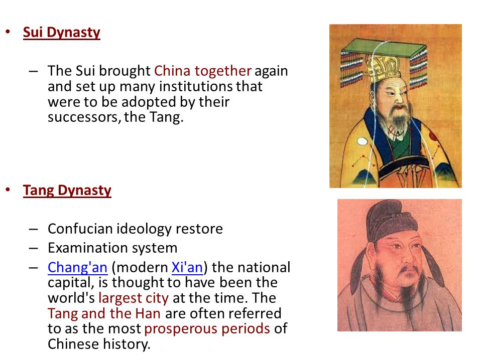 Sui Dynasty The Sui brought China together again and set up many institutions that were to be adopted by their successors, the Tang.