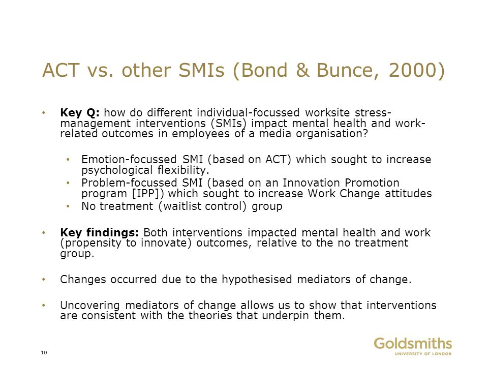 ACT vs. other SMIs (Bond & Bunce, 2000)