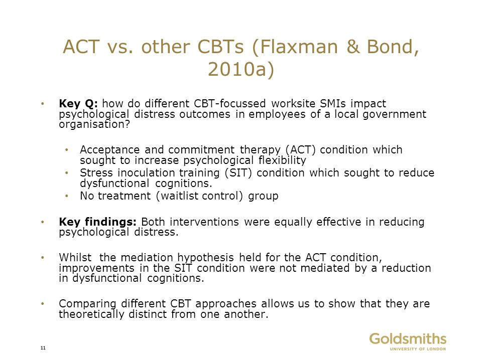ACT vs. other CBTs (Flaxman & Bond, 2010a)