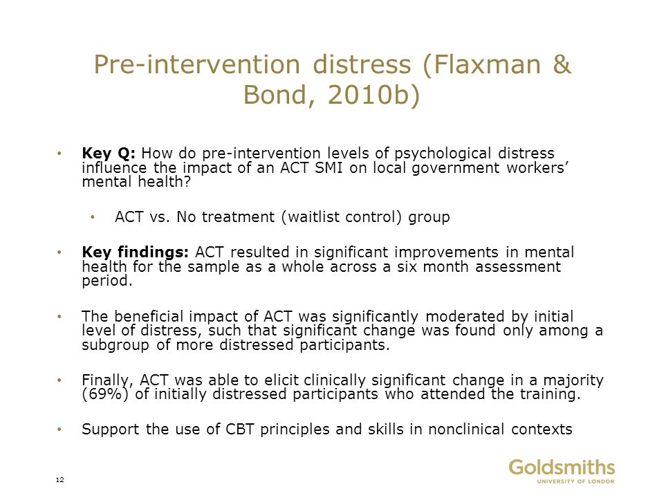 Pre-intervention distress (Flaxman & Bond, 2010b)