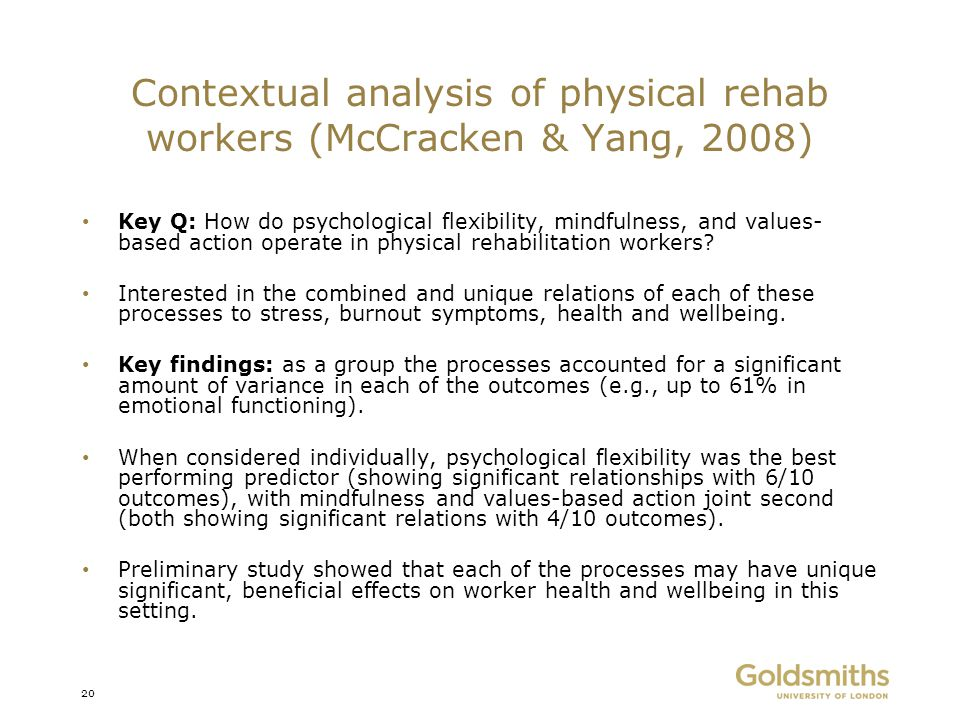 Contextual analysis of physical rehab workers (McCracken & Yang, 2008)