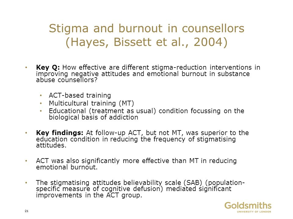 Stigma and burnout in counsellors (Hayes, Bissett et al., 2004)