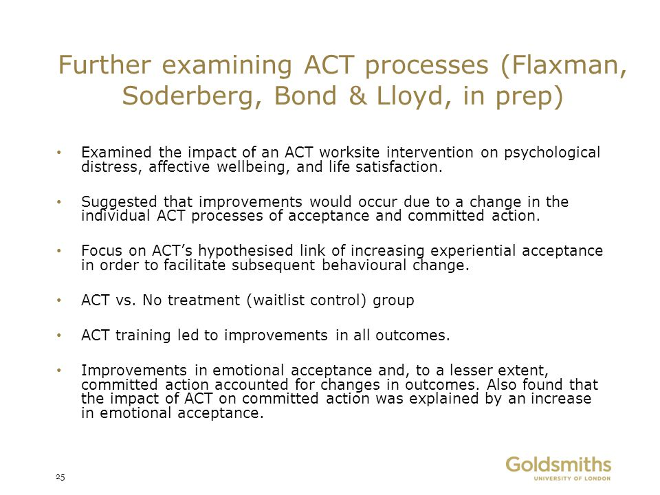 Further examining ACT processes (Flaxman, Soderberg, Bond & Lloyd, in prep)