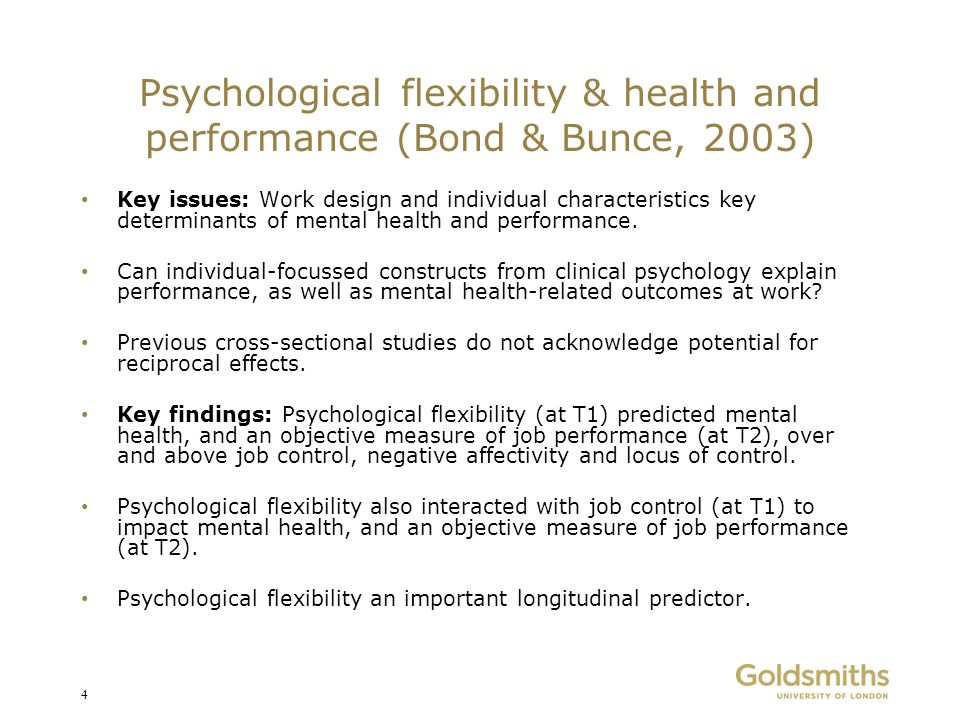 Psychological flexibility & health and performance (Bond & Bunce, 2003)
