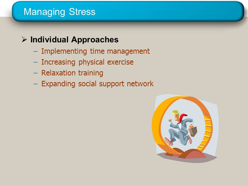 Managing Stress Redesigning of jobs Organizational Approaches