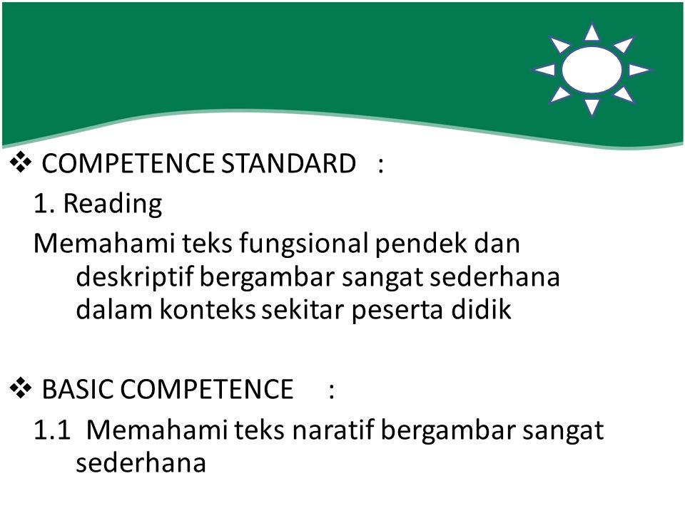 COMPETENCE STANDARD : 1. Reading. Memahami teks fungsional pendek dan deskriptif bergambar sangat sederhana dalam konteks sekitar peserta didik.