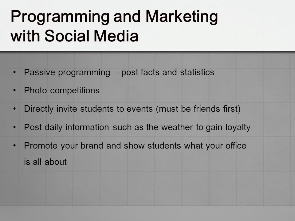 Programming and Marketing with Social Media