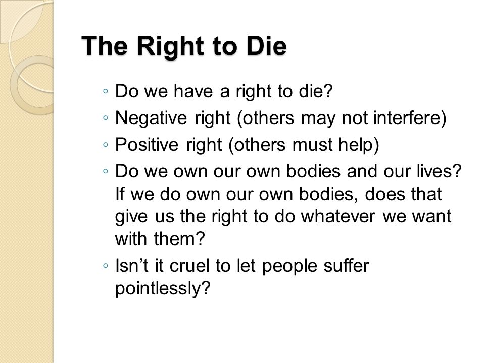 The Right to Die Do we have a right to die