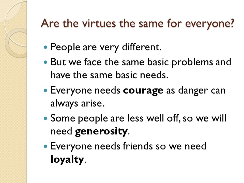 Are the virtues the same for everyone