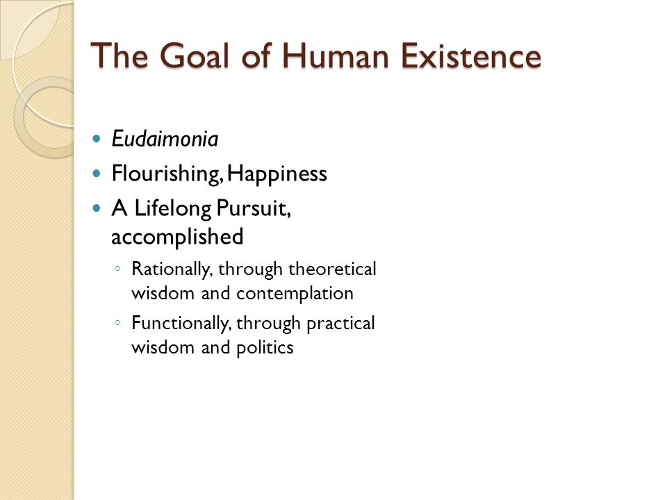 The Goal of Human Existence