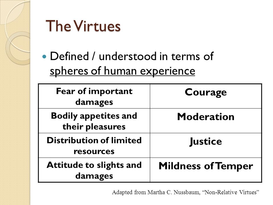 The Virtues Defined / understood in terms of spheres of human experience. Fear of important damages.