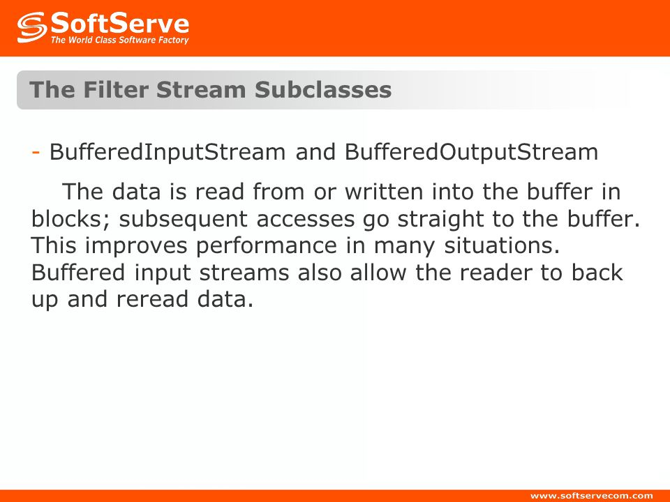 The Filter Stream Subclasses