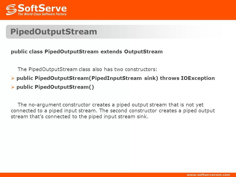 PipedOutputStream public class PipedOutputStream extends OutputStream