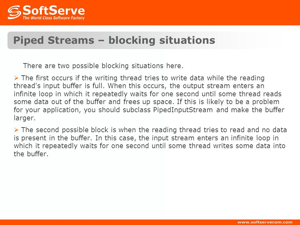 Piped Streams – blocking situations