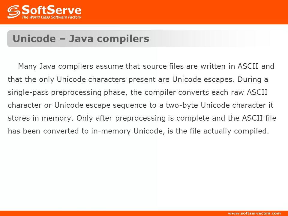 Unicode – Java compilers