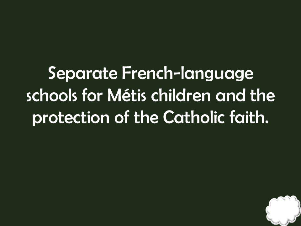 Separate French-language schools for Métis children and the protection of the Catholic faith.
