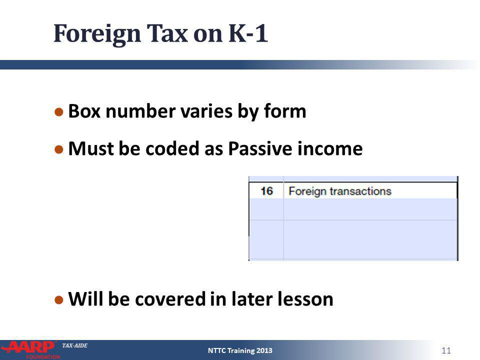 Foreign Tax on K-1 Box number varies by form