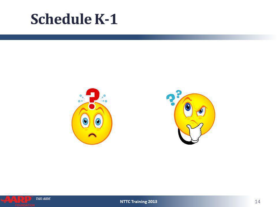 Schedule K-1 NTTC Training 2013