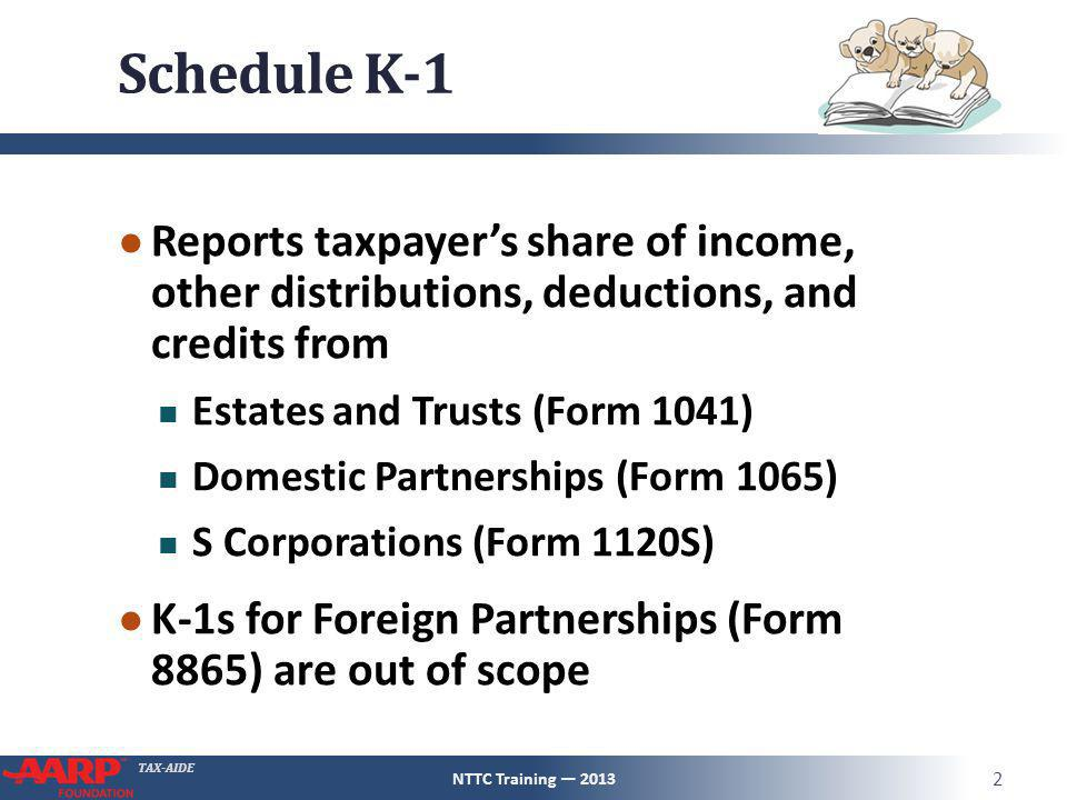 Schedule K-1 Reports taxpayer's share of income, other distributions, deductions, and credits from.