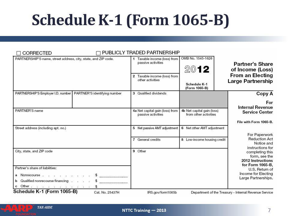 Schedule K-1 Pub 4491 – Pg 123 NTTC Training — ppt download