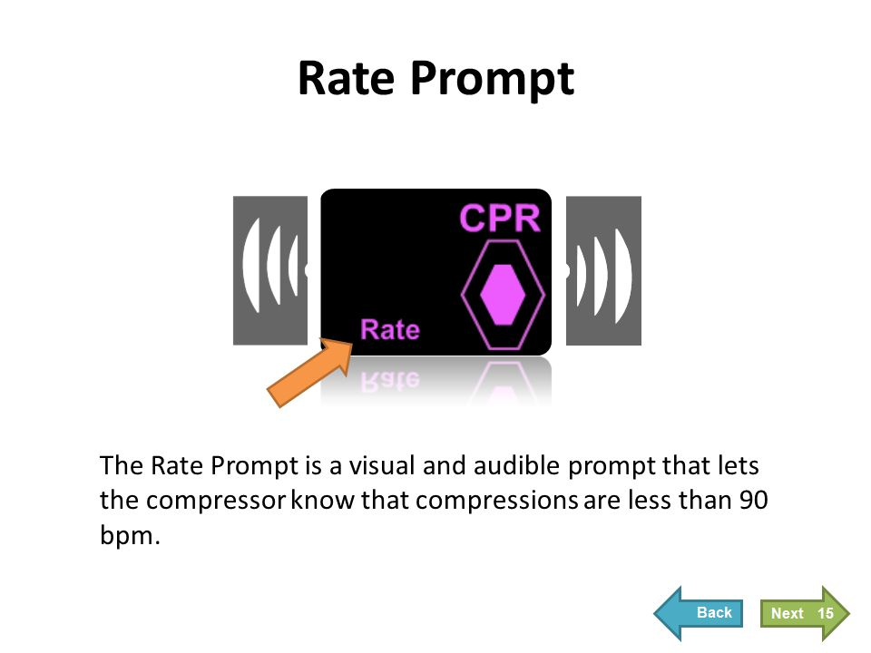 Rate Prompt When the Rate Prompt is active, the CPR Index stops filling, the Rate Prompt displays, and the metronome beeps at the correct rate.