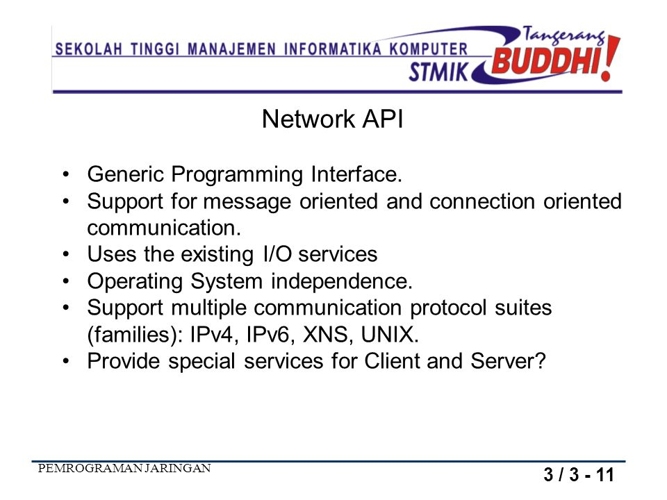 Network API Generic Programming Interface.