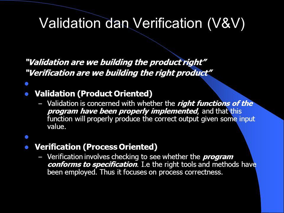 Validation dan Verification (V&V)
