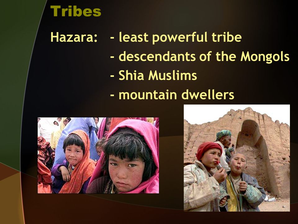 Tribes Hazara: - least powerful tribe - descendants of the Mongols