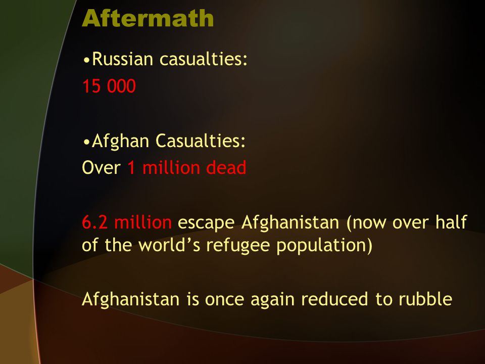 Aftermath Russian casualties: 15 000 Afghan Casualties: