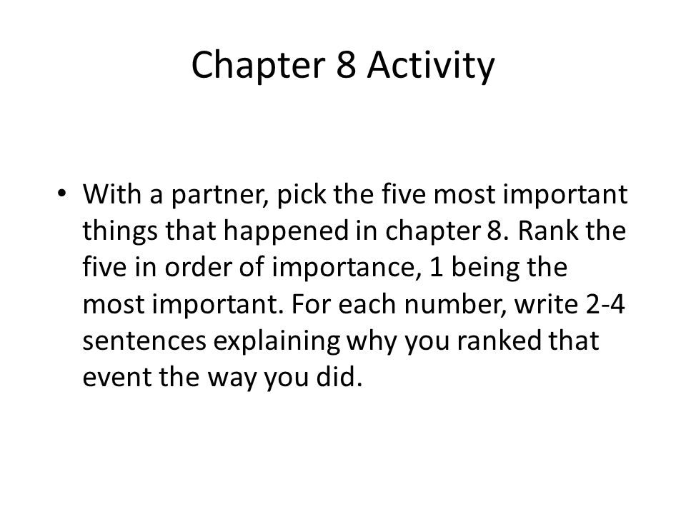 Chapter 8 Activity