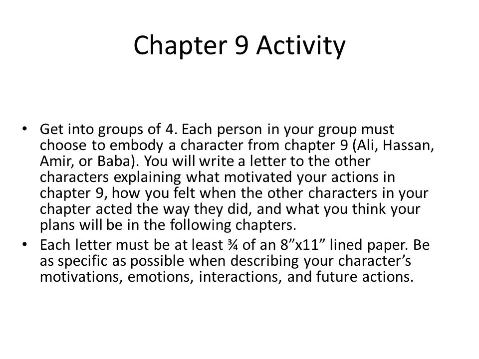 Chapter 9 Activity