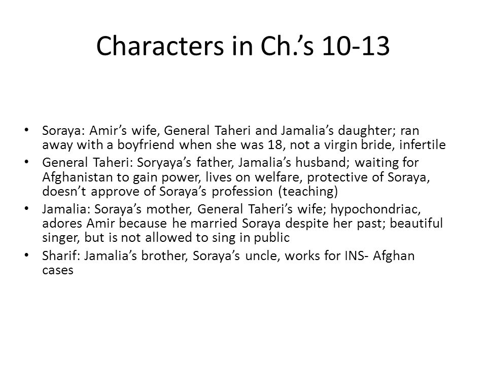 Characters in Ch.'s 10-13