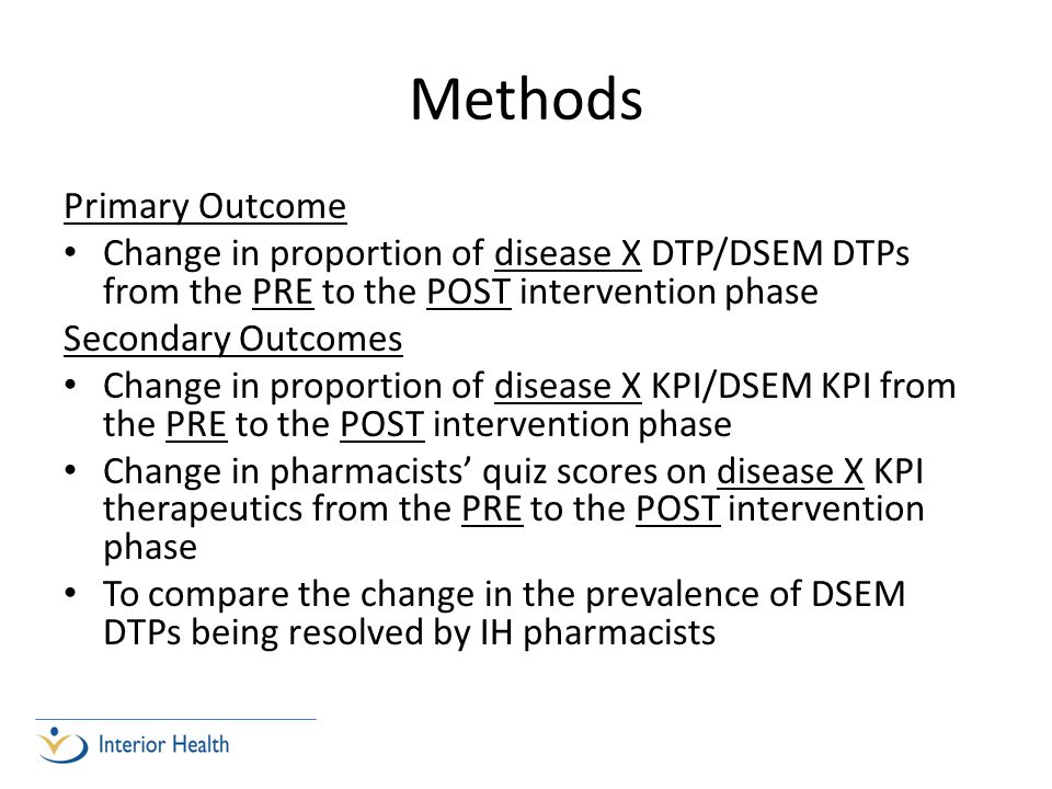 Methods Primary Outcome