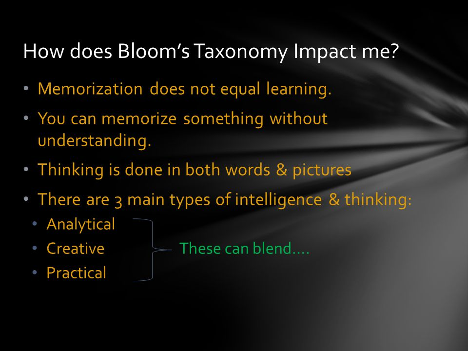 How does Bloom's Taxonomy Impact me