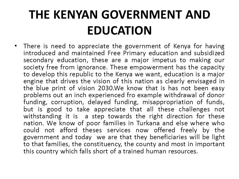 THE KENYAN GOVERNMENT AND EDUCATION