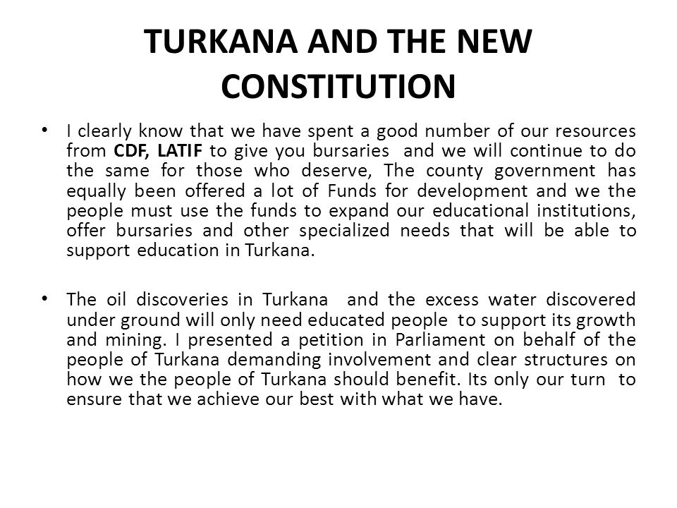 TURKANA AND THE NEW CONSTITUTION