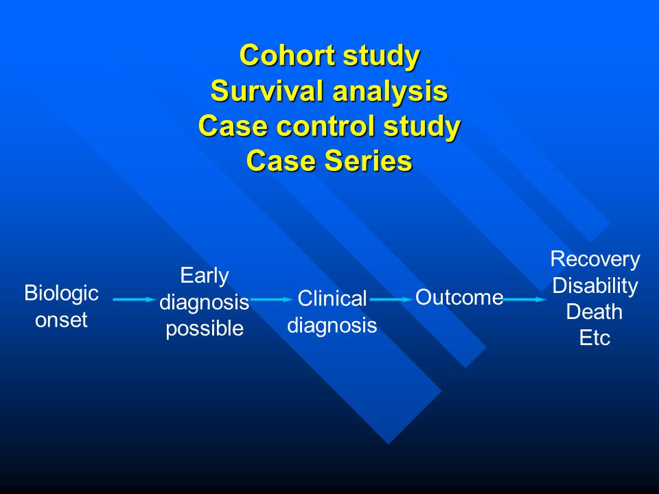 Cohort study Survival analysis Case control study Case Series
