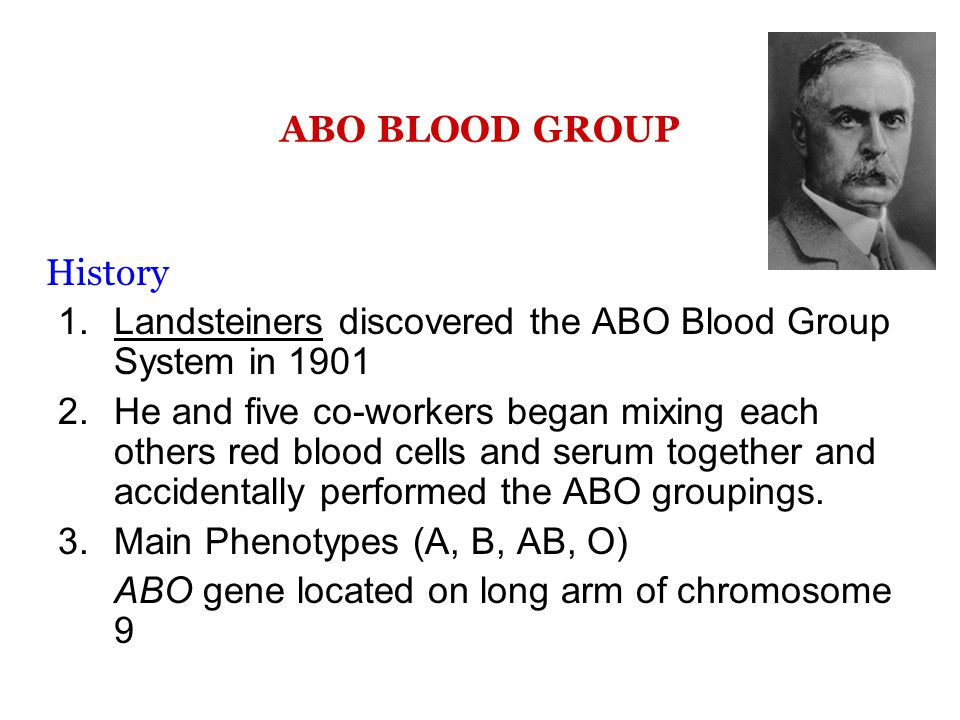 ABO BLOOD GROUP History. Landsteiners discovered the ABO Blood Group System in 1901.