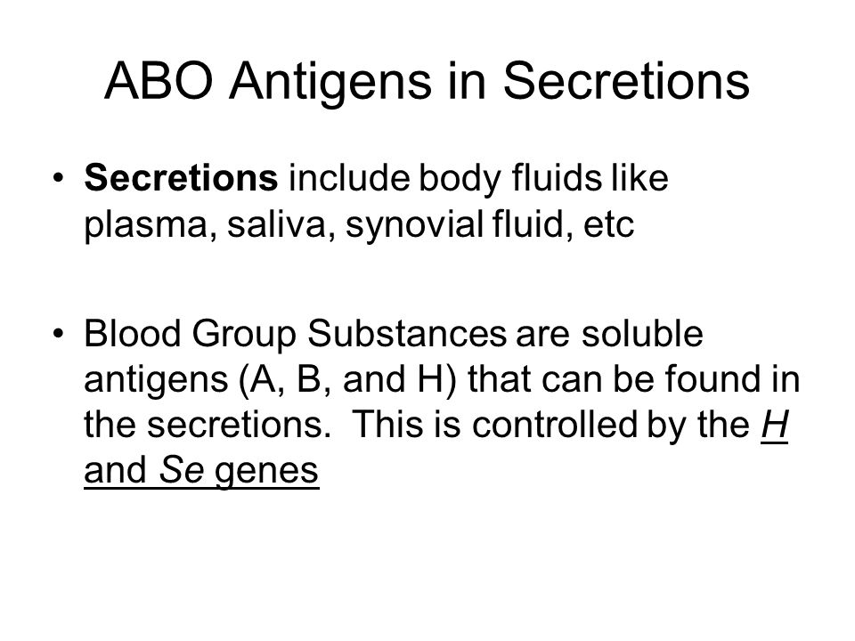 ABO Antigens in Secretions