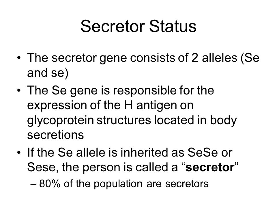 Secretor Status The secretor gene consists of 2 alleles (Se and se)