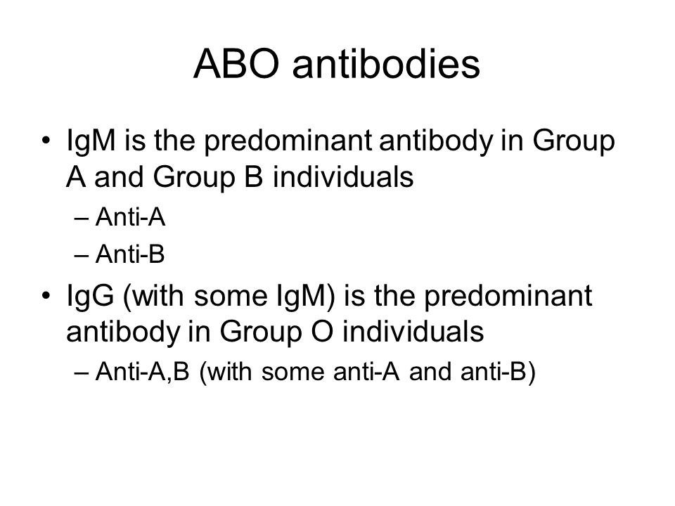 ABO antibodies IgM is the predominant antibody in Group A and Group B individuals. Anti-A. Anti-B.